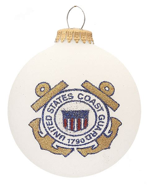 coast guard logo glass ball personalized ornament