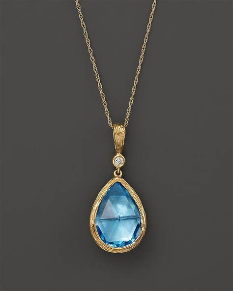 16 Necklace Gold Blue bloomingdale s blue topaz and teardrop pendant