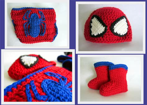 spiderman mittens pattern spider man hat diaper cover and booties set crochet