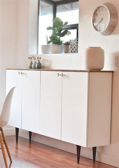 ikea hack kitchen cabinets ikea hack credenza uses upper kitchen cabinets wood