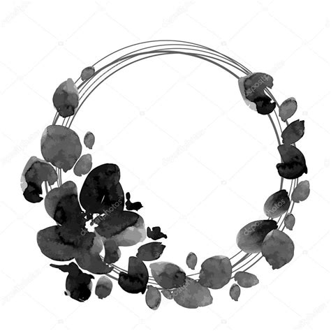 black and white flowers wreath stock vector 169 o ta 85189688