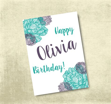 Printable Birthday Cards Customizable | personalized printable birthday card 5x7 by