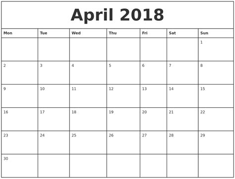 Printable 2018 Calendar By Month April 2018 Printable Monthly Calendar