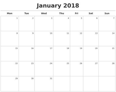Calendar 2018 Printable Monday Start January 2018 Calendar Maker