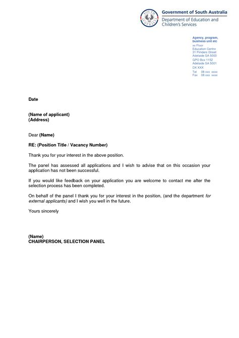 unsuccessful application letter template best photos of letter of application template