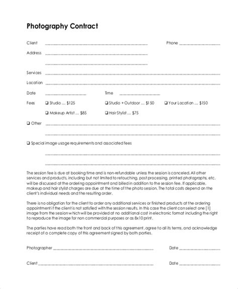 wedding photography contract template gt gt 21 nice