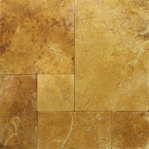 French Pattern Gold Travertine Tile | gold french pattern tumbled travertine paver travertine