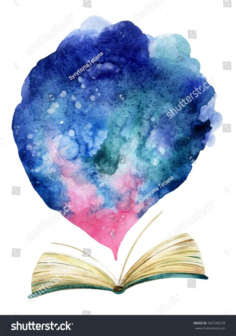 watercolor open book with magic cloud the whole world in one book painted book