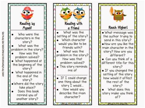 printable nonfiction bookmarks differentiated question stems for students to check