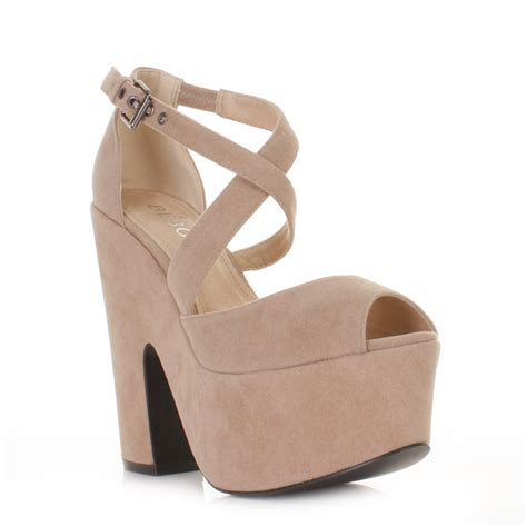 womens beige suede style cut out platform high heel