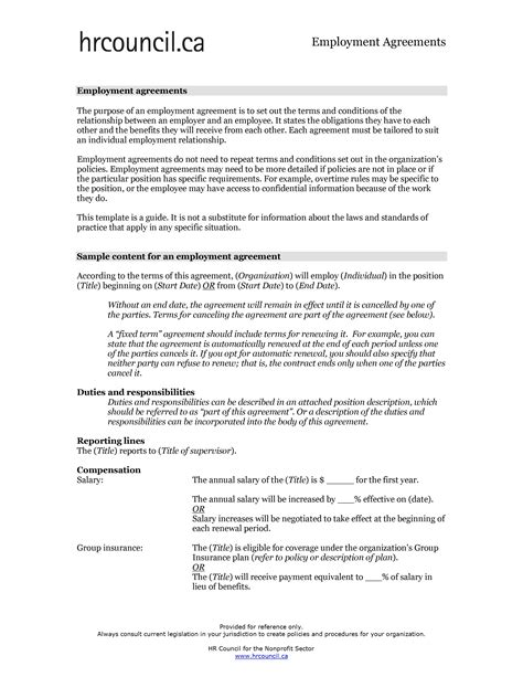 Employment Contract Sle Free Microsoft Word Templates Free Employment Contract Template Word