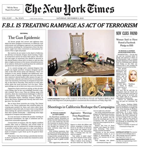 new york times front page newspaper san bernardino shooting new york times on front page