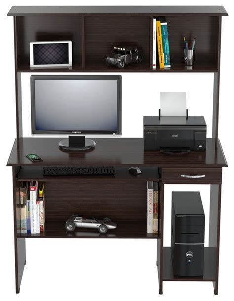inval computer desk with hutch inval computer work center with hutch wengue