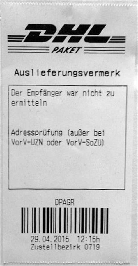 Adressaufkleber Englisch by Dhl Der Empf 228 Nger Ist Unbekannt