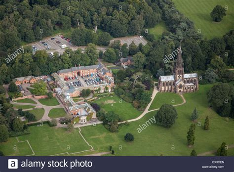 aerial view of clumber park including clumber house and