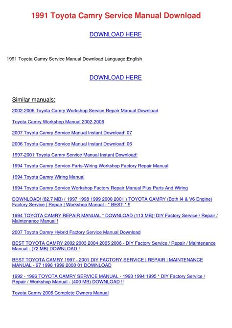 toyota camry 1987 1991 service repair manual by hong lii issuu 1991 toyota camry service manual download by jeromehealy issuu