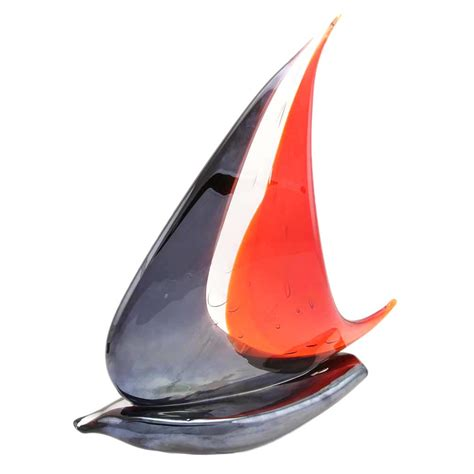 glass sailboat murano glass sailboat glass sailboat sculpture red and