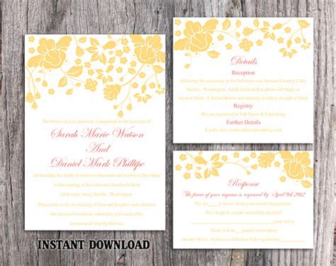 etsy wedding invitation template diy wedding invitation template set by thedesignsenchanted