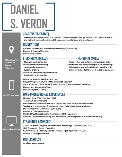 Best Resume Templates Photoshop by Resume Templates You Can Download Jobstreet Philippines