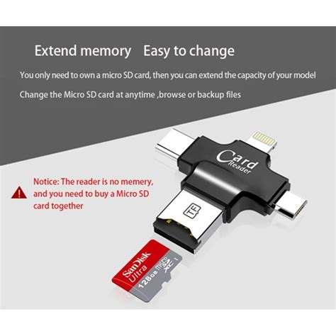 Card Reader Lipat 4 In 1 4 in 1 microsd card reader for iphone andriod tablet pc with type c lightning micro usb and