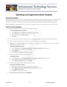 Ola Operational Level Agreement Template ola template