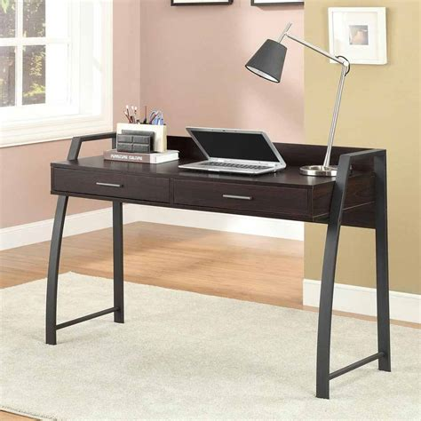 Home Office Writing Study Computer Desk Table 2 Drawers Black Metal Computer Desk