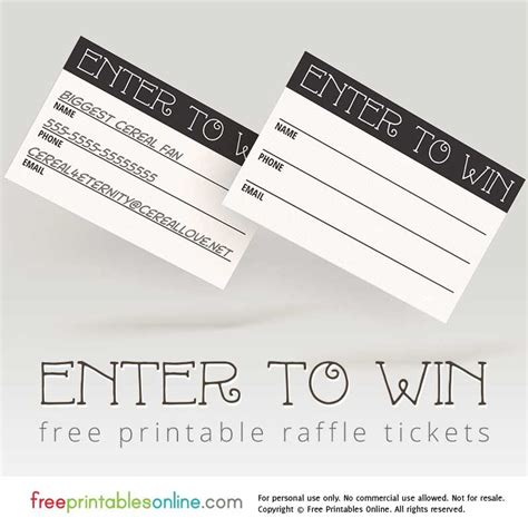 printable tickets for raffle enter to win printable raffle tickets printable raffle