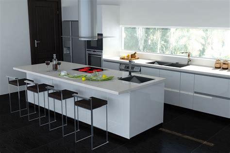 Merveilleux Idee Carrelage Mural Cuisine #6: plan-travail-cuisine-tabourets-haauts-carrelage-noir-hotte-design.jpg