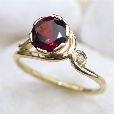 Garnet Ring by Garnet Ring In 18ct Gold With Accent By Lilia Nash