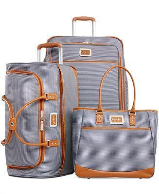 Jessica Simpson Breton Stripe Spinner Luggage   Luggage