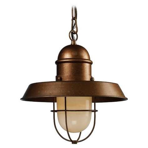 Nautical Pendant Light Nautical Copper Pendant Light With Cage Shade 65049 1 Destination Lighting