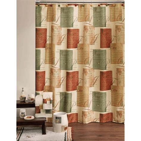 rust colored fabric shower curtain tranquility inspirational sentiments fabric shower curtain