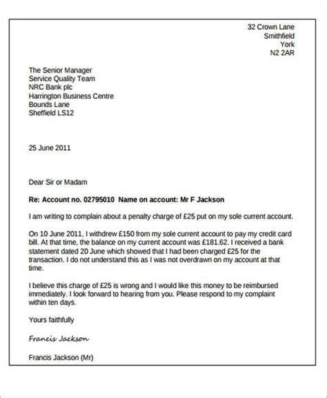 Complaint Letter Template Bank Sle Complaint Letter To Bank For Credit Card Cover