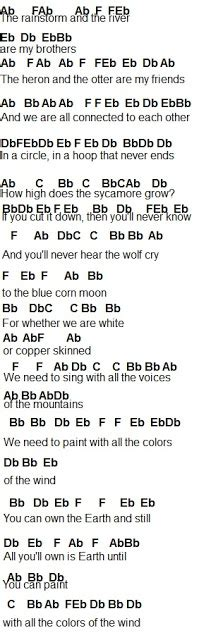 color of the wind lyrics flute sheet colors of the wind