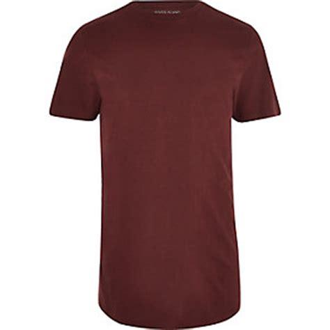 Longline T Shirt Faded Stripe Maroon mens t shirts vests river island