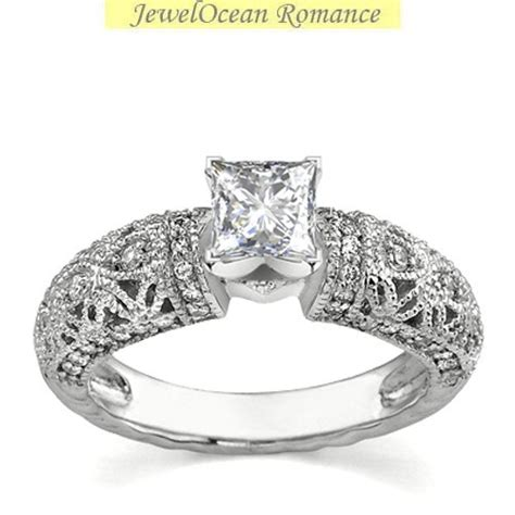 rings vintage carat princess engagement ring in white gold
