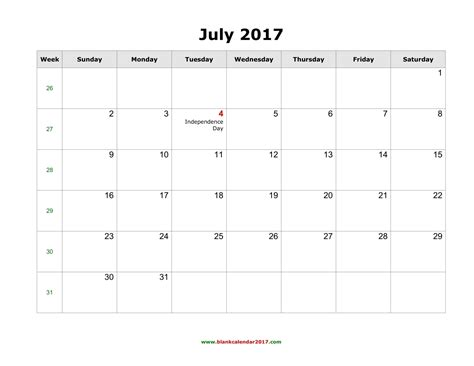 blank calendar for july 2017
