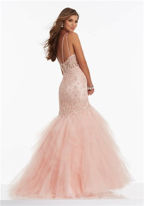 Spaghetti Tulle Dress mermaid sweetheart blush pink lace tulle layered prom