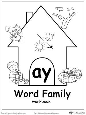 AY Word Family Workbook for Kindergarten | Word families