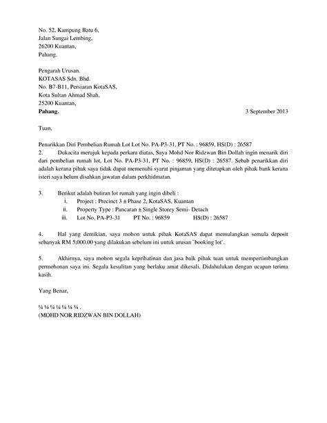 Surat Permintaan Pembelian by Surat Penarikkan Diri Pembelian Rumah Documents