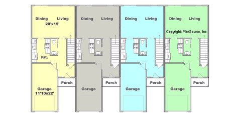 4 plex apartment floor plans 4 plex plan j0121 12 4 plansource inc