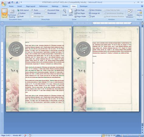 layout design word how to repeat a logo and address on each page of your