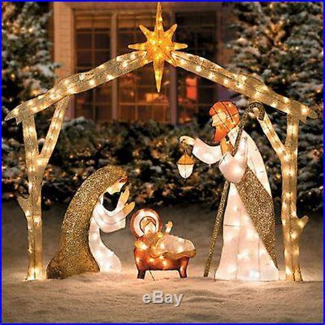 Beautiful Shimmering Lighted Christmas Nativity Outdoor Lighted Decorations For Yard
