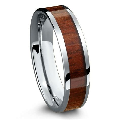 Koa Ring With a Flat Design Crafted Out of Tungsten and