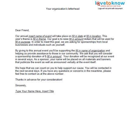 letter template for charity sponsorship sles of non profit fundraising letters fundraising