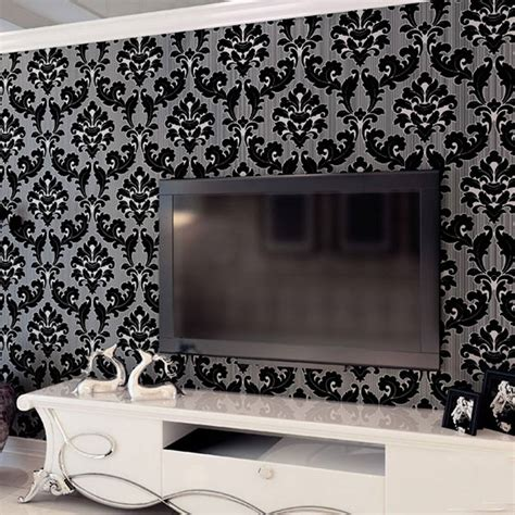 black damask wallpaper home decor popular black velvet wallpaper buy cheap black velvet