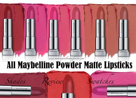 Maybelline The Powder Matte Lipstick all maybelline powder matte lipsticks shades review swatches make me blush technically pink