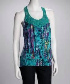 millenium clothing emerald crocheted racerback tank zulily