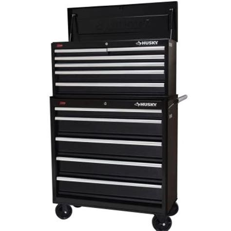husky 36 in 11 drawer steel tool chest and cabinet set