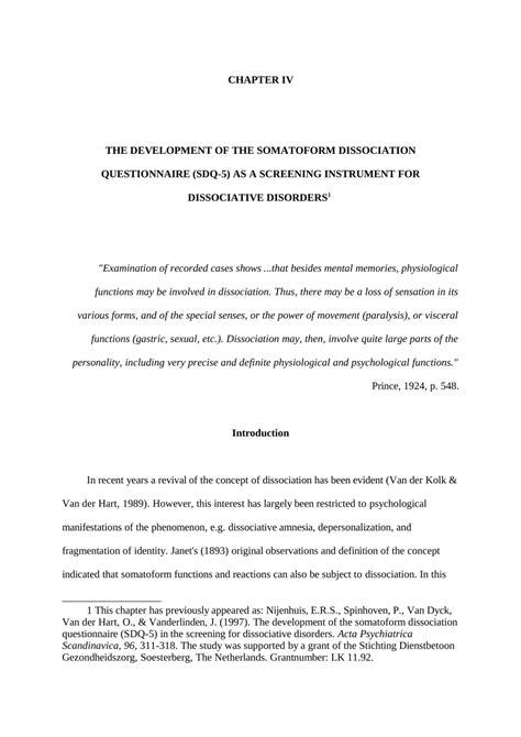 (PDF) The Development of the Somatoform Dissociation
